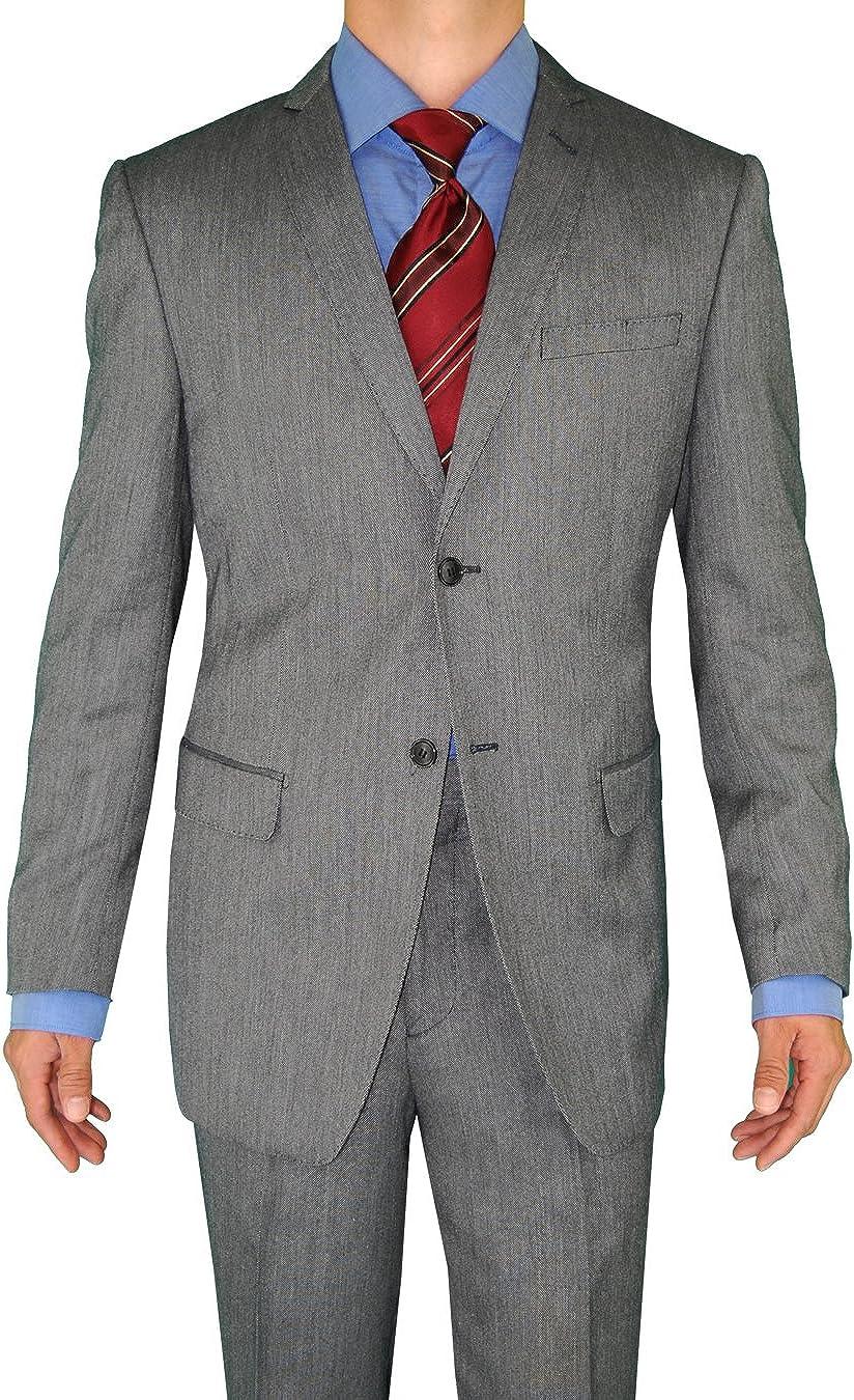 Giorgio Eleganz Men's Trim Modern Fit Suit 2 Button Dark Gray Sharkskin