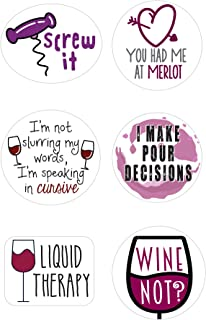 Wine Markers   Stickers for Wine Glasses   Set of 12 Static Cling, REUSABLE Stickers   Funny Wine Party Supplies   Great Alternative to Wine Charms