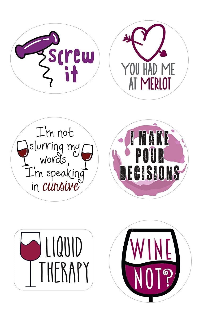 Wine Glass Markers   Set of 12 Static Cling, REUSABLE Stickers   Funny Wine Theme Party Supplies   Unique Alternative to Wine Charms