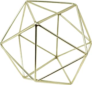 3D Geometric Himmeli Centerpiece & Hanging Ornament, Chrome Plated Metal - 6 Inch Size (Gold)