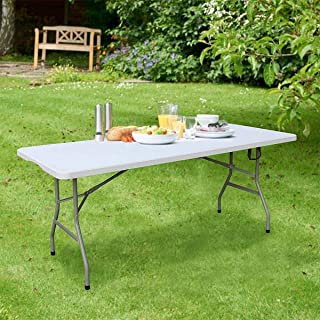 LANNY 1.5m (5ft) Heavy Duty Folding Table Centerfold, Ideal for Crafts, Outdoor Events, 150 * 70cm, White Table