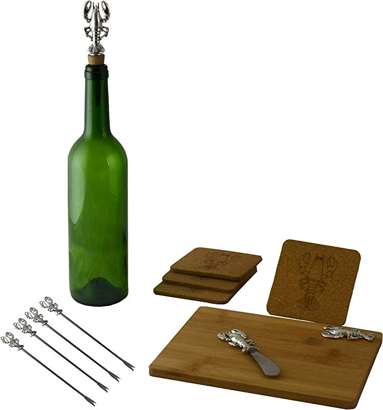 Wine Cheese 11 Pc Charcuterie Cutting Board Set Silver Lobster Includes Bamboo Wood Cutting Board Cheese Picks Wine Stopper Cheese Knife Dishwasher Safe For Elegant Serving Presentation