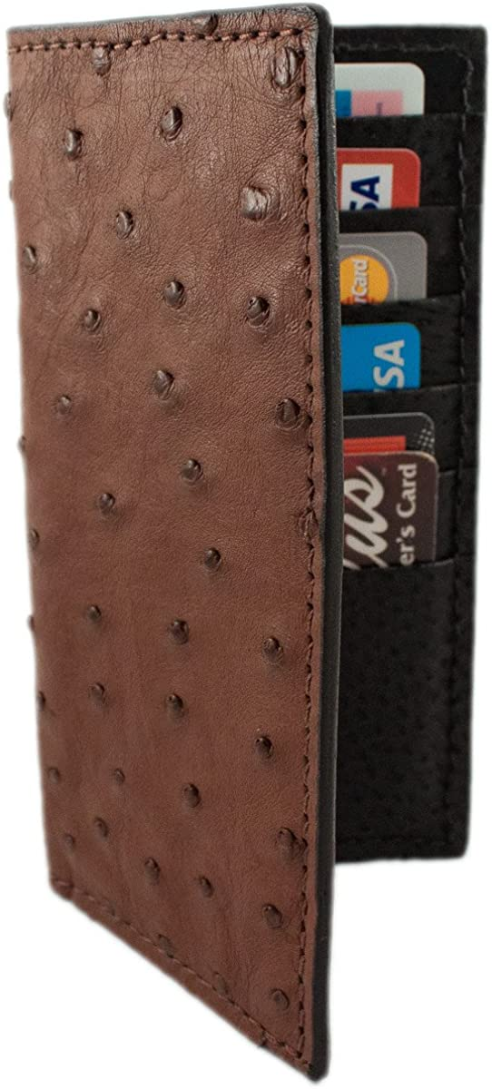 Genuine Ostrich Leather Rodeo Checkbook Wallet
