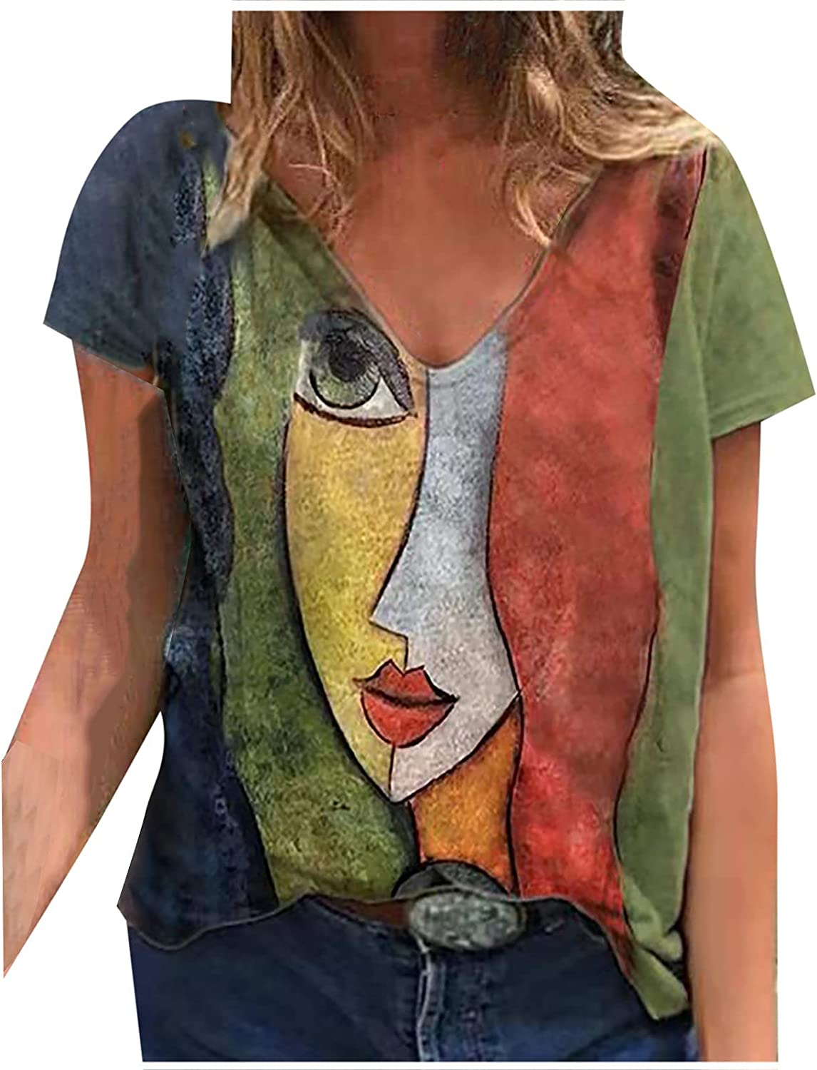 Women's Casual T-Shirt Summer Fashion Short Sleeve V-Neck Floral Shirt Loose Pullover Blouse Tops