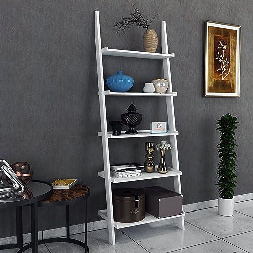 DecorNation Jasper Leaning Bookcase Ladder and Room Organizer Engineered Wood Wall Shelf, White
