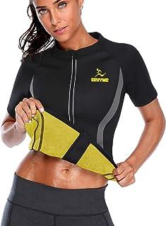 JMITHA Shirt De Sudation pour Femme Costume de Sauna Sueur Chaude N/éopr/ène Minceur Shirt de Sueur Manche Longue dentra/înement Body Shaper pour Sport Fitness Perdre du Poids