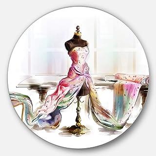 Designart Dressed Tabletop Mannequin - Digital Art Round MT7318-C23-Disc of 23 inch, 23'' H x 23'' W x 1'' D 1P, Red/Brown