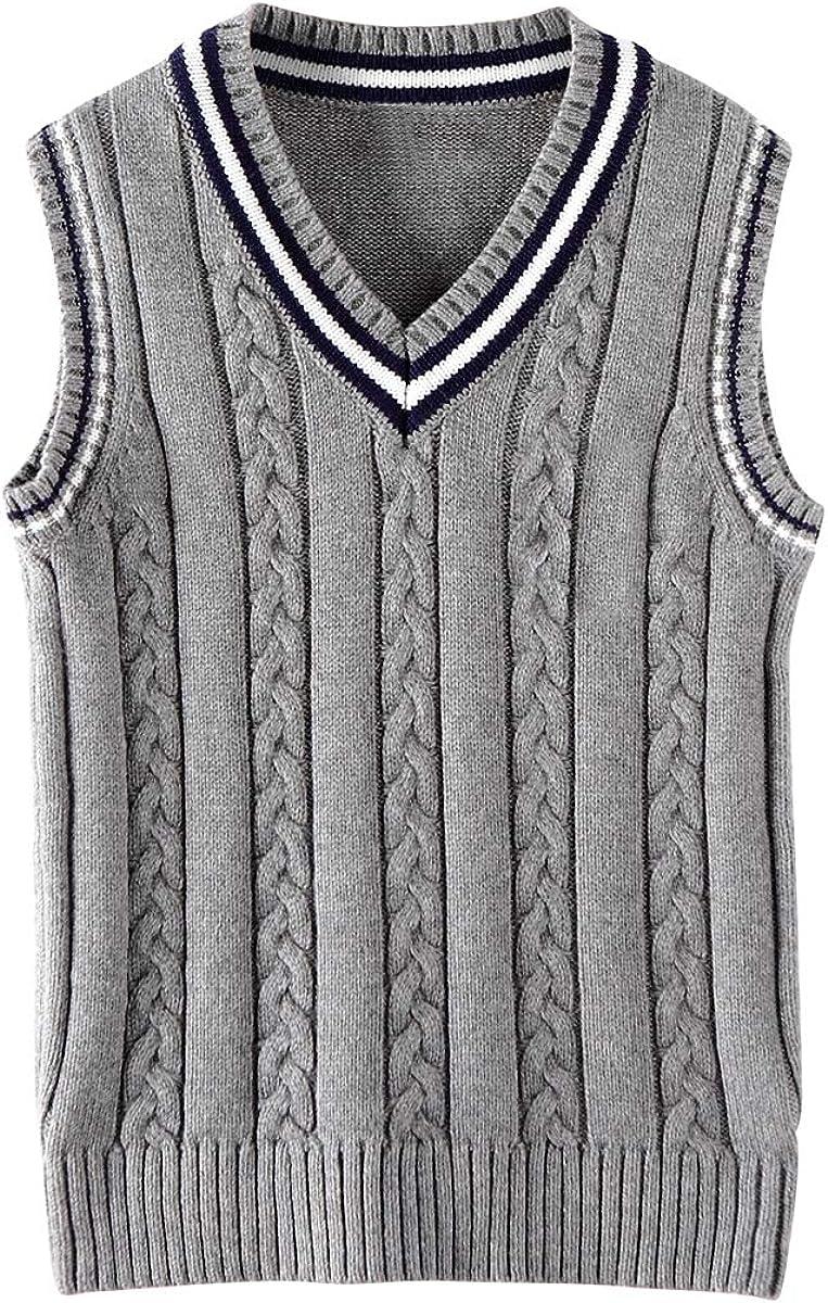 Cotton Impression Boys Girls Uniform Sweater Vest Sl specialty shop Detroit Mall V-Neck