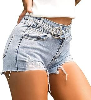 LUKEEXIN Women's Sexy Distressed Ripped High Waist Jeans Denim Shorts