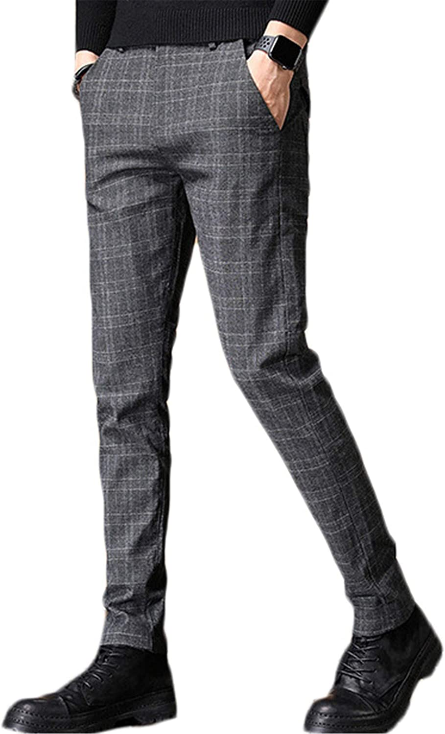 Andongnywell Mens Dress Pants Slim Fit Stretch Skinny Suit Pants Man Slim Stretch Plaid Casual Trousers