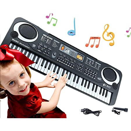 Digital Music Piano Keyboard 61 Key Portable Electronic Musical Instrument with Microphone Kids Piano Musical Teaching Keyboard Toy For Birthday Christmas Festival Gift