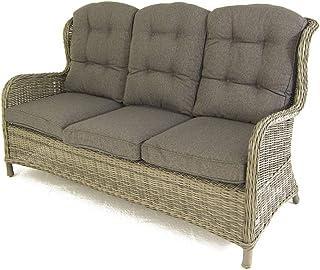 Sofá para jardín, 3 plazas, Color Gris, Aluminio y rattán sintético, Tamaño:173x90x107 cm,Cojín Antracita Incluido