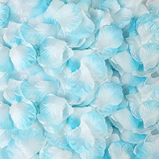 BESKIT 3000 Pieces Silk Rose Petals Artificial Flower Petals for Valentine Day Wedding Flower Decoration (Light Blue&White)