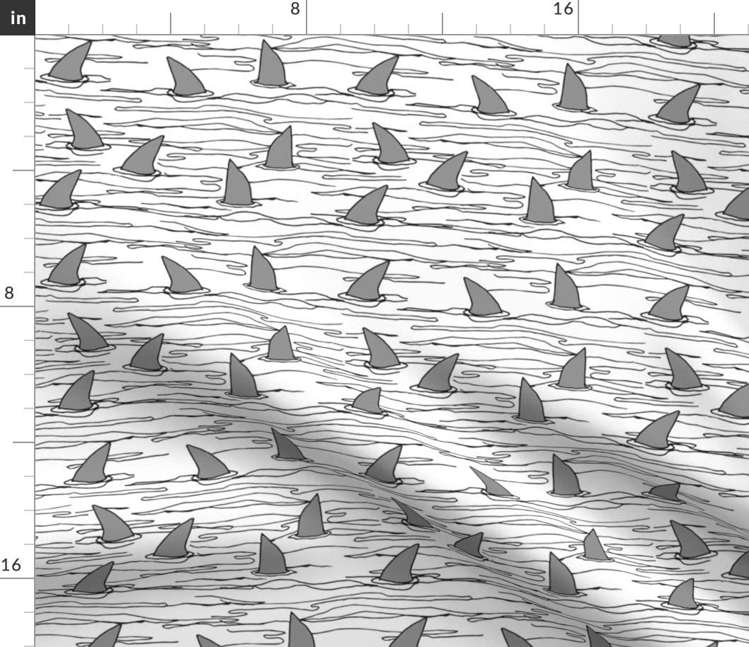 Spoonflower Fabric - Shark Sharks Sales Free Shipping New results No. 1 Beach White Ocean Background S