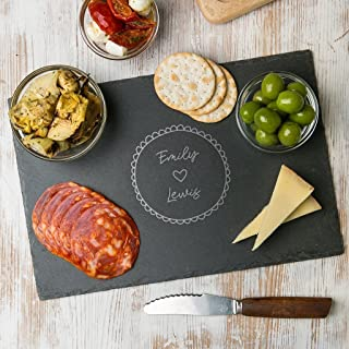 Personalized Cheese Board - Housewarming First Christmas Gifts for Couples - Engagement Wedding Serving Board - Wood or Slate Available