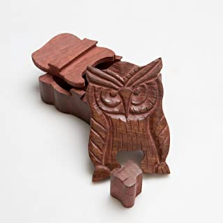 Rusticity Wooden Puzzle Box - Owl   Handmade   (5 x 3 x 2 in)