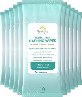 Ultra-Thick Rinse Free Bathing Wipes (12 pack) | 120 Extra Large & Thick Adult Sponge Bath Wash Cloths Requiring No Rinse - Latex, Lanolin and Alcohol Free - 12 Packs of 10 Cleansing Body Bath Wipes