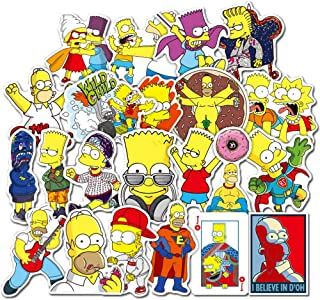 Sticker Pack 50Pcs,Simpson Waterproof Vinyl Stickers for Water Bottles,Laptop,Kids,Cars,Motorcycle,Bicycle,Skateboard Luggage,Bumper Stickers Hippie Decals Bomb