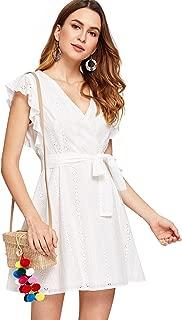 Women's Elegant Ruffle Trim Eyelet Embroidered V Neck Wrap Short Dress