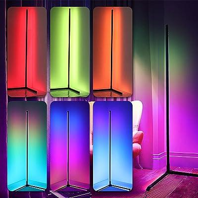 CJHZQYY LED Stehlampe 20W Eck Standleuchte mit Fernbedienung, Farbwechsel Lichtsaeule für Modernes Wohnzimmer Schlafzimmer, RGB Farbtemperature