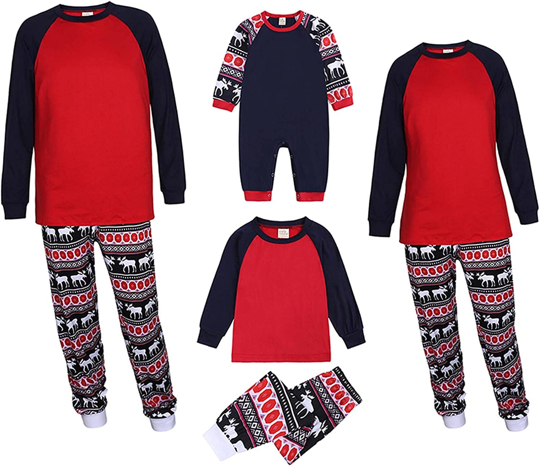 Matching Family Pajamas Christmas Red Deer Reindeer Snowflake Outfits Mum and Me Holiday Pjs Set Sleepwear