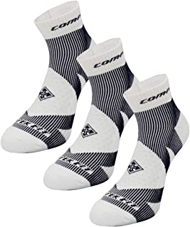 Gravityfreesports Compression Running&Golf Athletic Socks - Ankle High with Ribbed Arch Support Reinforced Cushion for Plantar Fasciitis [1Pair][3Pairs]