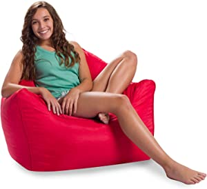 Posh Creations Malibu Lounge, Kid and Teen Playrooms and Bedrooms, Large Bean Bag Chair, Soft Nylon-Red