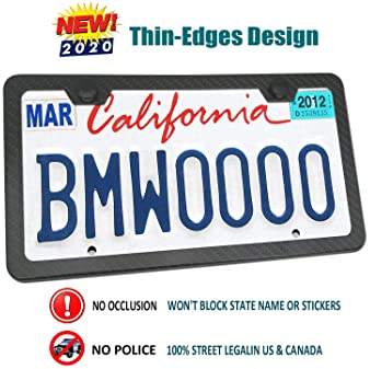 leisure MART Licence Plate Frame Aluminum License Plate Cover for US Canada 4 Hole and Screw