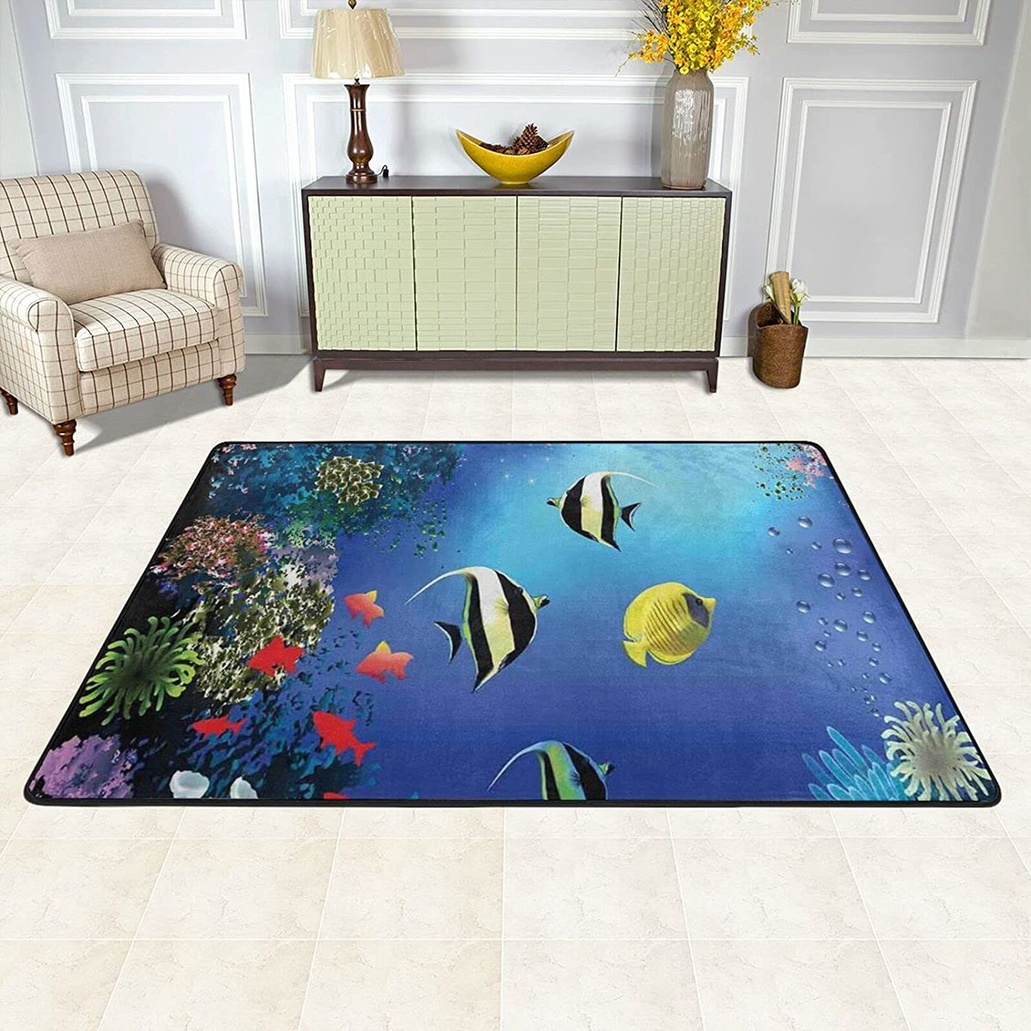 Free shipping anywhere in the nation TPOKIM Area Rugs Pad for Colorful Underwater Sales results No. 1 Room Living Bedroom
