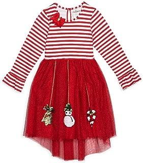 Size 4-12 Red Stripe Sparkle Mesh Christmas Ornament Dress