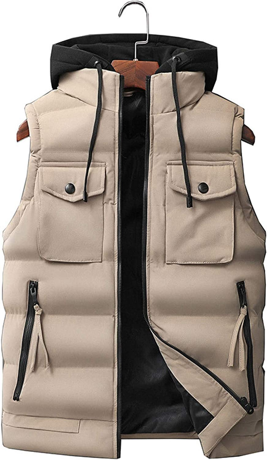 Men's Thicken Winter Vest Hooded Down Vests Removable Zipper Pocket Polyester Water Resistant Sleeveless Puffer Jacket