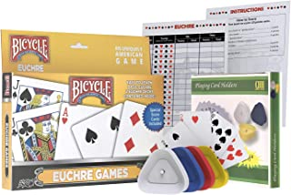 Classic Euchre Card Game Gift Box Set with Authentic USA Made Bicycle Playing Cards, Four Card Holders and Score Pad with Game Instructions by All7s