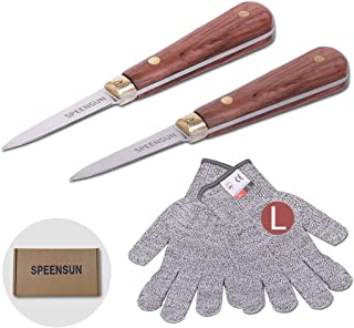 Oyster Shucking Knife,Oyster Knife,SPEENSUN Shucking Knife Not Easy to Break and Bend,More Secure With Oyster Shucking Knife and Gloves(2 Knife And 1Glove L),Best Oyster Shucking Set