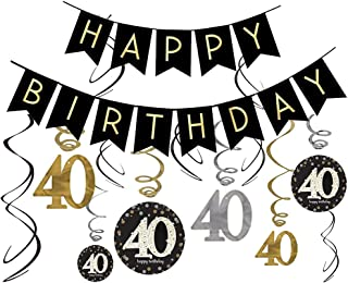 40th Birthday Decorations Kit- Gold Glitter Happy Birthday Banner & Sparkling Celebration 40 Hanging Swirls-40th Anniversary Decorations