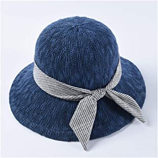Lei Zhang Spring and Summer hat Simple Bow Korean Version of The Wild Pure Color Fisherman hat Visor Female Dome Sun hat (Color : Navy)