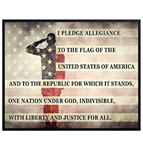Patriotic USA Pledge of Allegiance, American Flag Wall Decor Art Print - Home, Office Decoration - Gift for Military Soldier, Veteran, Vet, Serviceman, Servicewoman, Army, Navy, Marine, USMC,Air Force