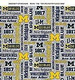 University of Michigan Fleece Blanket Fabric-Michigan Wolverines Heather Grey Fleece Fabric Sold by The Yard