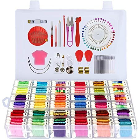 Embroidery Thread Kit for Beginners 96 Different DMC Embroidery Floss Colors Includes Embroidery Thread Organizer /& 138 Total Pieces Beginner Embroidery Kit for Adults