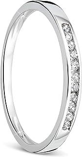 anillo de mujer compromiso/aniversario 0.10 Quilates diamantes en oro blanco 9 kilates ley 375