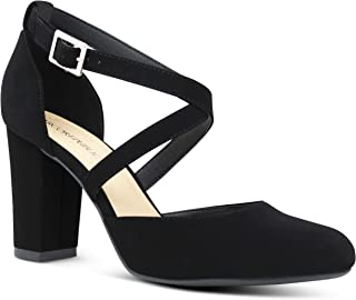 Marco Republic Hong Kong Women's Almond Toe Ankle Strap Chunky Block Stacked Heels Dress Shoes - (Black NBPU) - 5
