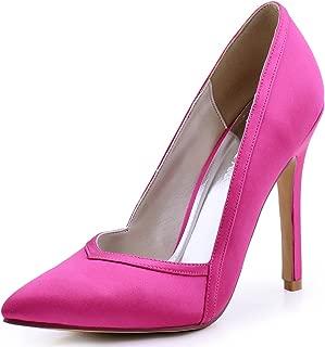 ElegantPark Women's Pointed Toe High Heel V Cut Slip On Satin Dress Pumps