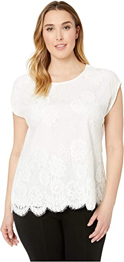 Plus Size Extend Shoulder Floral Lace Scallop Hem Blouse