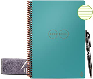 """Rocketbook Smart Reusable Notebook - Lined Eco-Friendly Notebook with 1 Pilot Frixion Pen & 1 Microfiber Cloth Included - Neptune Teal Cover, Executive Size (6"""" x 8"""