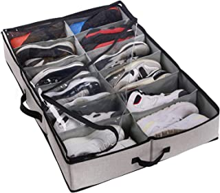 ACMETOP Extra-Large Under Bed Shoe Storage Organizer, Sturdy Built-in Structure & Durable Linen, Underbed Storage Solution Fits Men's Size 13 Sneaker and Women's 6'' High-Heels (Gray)