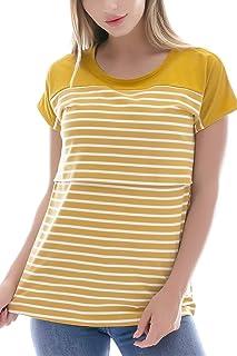 8e4e40c40e68 Smallshow Women s Maternity Nursing Tops Striped Breastfeeding T-Shirt