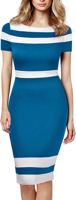 Mmondschein Women's Scoop Neck Optical Illusion Business Bodycon Dress