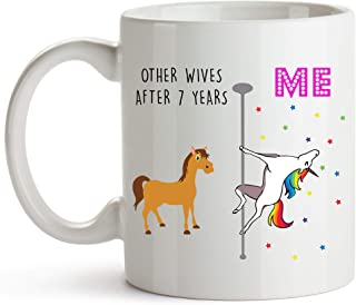 YouNique Designs 7 Year Anniversary Coffee Mug for Her, 11 Ounces, Unicorn Mug, 7th Wedding Anniversary Cup for Wife, Seven Years