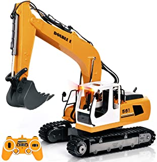 DOUBLE E Remote Control Truck RC Excavator Toy 17 Channel 3 in 1 Claw Drill Metal Shovel Real Hydraulic Electric RC Construction Vehicle with Working Lights (Yellow)