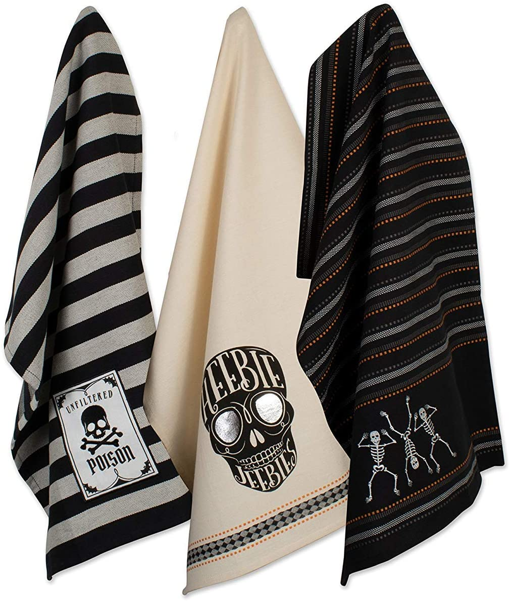 New product!! DII Halloween Collection Embellished Skele Tampa Mall Set 18x28 Dishtowel