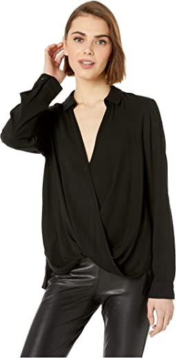 Surplice Long Sleeve Woven Top